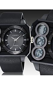 Masculino / Mulheres / Unissex Relógio de Pulso Digital LED / Calendário / Cronógrafo / Impermeável Borracha Banda Preta marca- OHSEN