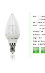1 stk e14 / E12 5W 10pcs * 0.5W SMD 450 lm dimmes stearinlys pærer
