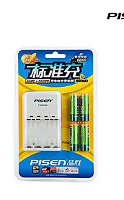 Pisen 4 bay / gleuf aa aaa oplaadbare Ni-MH batterijlader opvouwbare ac stekker pack met 4 1800mAh AA batterijen