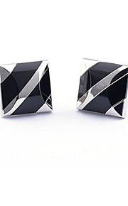 Copper Silver Bblack Agate Square Men's Cuff Links Wedding Party Gift Cufflinks