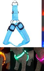 레드 / 그린 / 블루 / 핑크 / 옐로우 / 오렌지 / 무지개 - 반사적인 / LED 조명 / 리트랙터블 - 직물 - 하니스 - 개 / 고양이