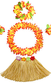 40cm Kid's Fire-Proof Double Layers Hawaiian Carnival Hula Dress Wristbands Necklace and Headpiece