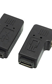 CY® Left and Right Turning Male Micro USB to Female Micro USB 2.0 Adapter for Samsung/Moto