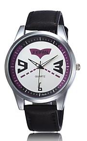 relógio de forma disco personalidade selvagem relógio ocasional pu couro de quartzo dos homens (cores sortidas)