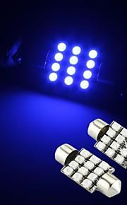 2 x blå 12 SMD LED girlander interiør dome pære lys 36mm