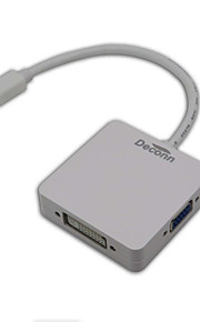 3-In-1Mini Display Port DP Thunderbolt to DVI VGA HDMI Adapter Cable for MacBook