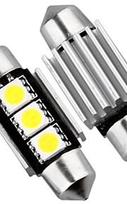 2 x CANbus ingen feil 3 SMD LED interiør pære lys 36mm