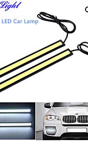 youoklight® 2-piece vattentät hög effekt 6W 6000K cob ledde DRL varselljus för alla fordon med 12V