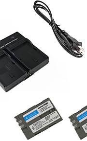 ismartdigi EL3e digitais x2 bateria da câmera + carregador duplo para Nikon D90 D80 D300S d300 d700 d200
