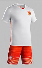 2016 Europ Cup Holand Natioanl Football Team Unisex Half Sleeve Soccer Tops Wicking White/Orang  M / L / XL