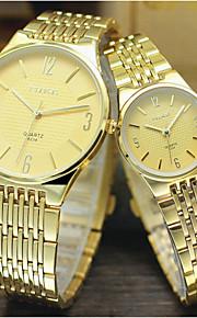 Masculino / Mulheres / Casal Relógio Elegante Quartz Relógio Casual Lega Banda Prata / Dourada marca-