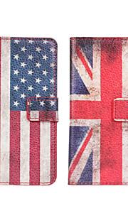 HTC 하나 미니 M4에 대한 미국 또는 영국 국기 가죽 케이스 커버 지갑 카드 슬롯 케이스