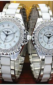 Casal Relógio de Moda Quartz Relógio Casual Lega Banda Relógio de Pulso Prata / Dourada