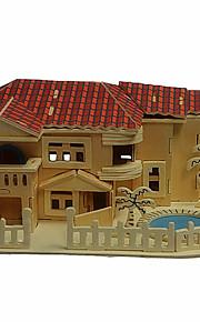 casa de praia em madeira 3d puzzles DIY brinquedos