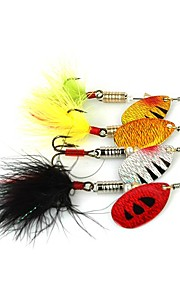 4pcs 6.5cm/5.5g Fishing Lures Metal Spinner Baits Set (Mixed Color)