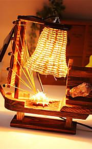 creatieve houten borstel pot licht zeilen lamp decoratie bureaulamp slaapkamer lamp cadeau voor kind