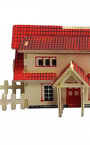 Casa de madeira de estilo ocidental 3d puzzles DIY brinquedos