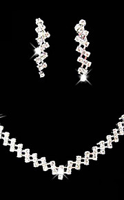 Lucky Doll Alloy / Rhinestone / Silver Plated Jewelry Set Necklace/Earrings Wedding / Party 1set