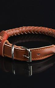 Hundar Halsband Vattentät Svart / Brun Genuint läder