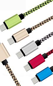 cable de cable de carga micro USB trenzado duradera 1m para el teléfono Samsung Android de HTC