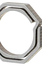 FURA Octagonal Titanium Alloy Key Ring - Champagne + Grey (Small Size)