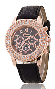 Ladies' Wrist Watch The New Double-Diamond Rose Gold Dial Geneva PU Band Quartz Watch(Assorted Colors)