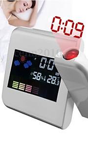 mote digital lcd-skjermen hjemme termometer vekkerklokke skrivebord vekkerklokke med LED projektor funksjon (assortert farge)