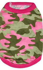 Katter / Hundar T-shirt Grön / Ros Sommar / Vår/Höst Kamouflage Mode-Pething®
