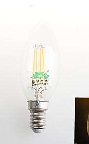 1 stk. Zweihnder E26/E27 4W 4 COB 380 lm Varm hvit C35 Dekorativ LED-lysestakepærer AC 220-240 V
