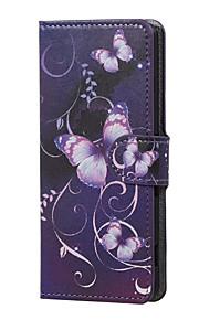 mariposa púrpura magnética de la PU de la carpeta de cuero del soporte del tirón de la cubierta del caso Lenny wiko 3