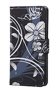 White Flower Magnetic PU Leather wallet Flip Stand Case cover for Huawei P9 Lite