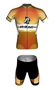 MYKING Men's Cycling Bike Short Sleeve Clothing Set Bicycle Wear Suit Jersey and Shorts Classic myking orange