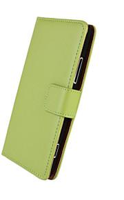 caja de cuerpo completo cuero genuino patrón de color sólido con el soporte y la tarjeta de la ranura para lumia 925