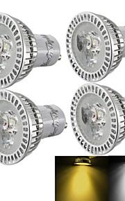 3W GU10 LED-spotpærer R63 3 Høyeffekts-LED 300 lm Varm hvit / Kjølig hvit Dimbar / Dekorativ AC 110-130 / AC 85-265 / AC 220-240 V 4 stk.