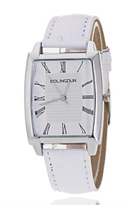 Ladies' Wrist Watch Silver Ring Rectangular White Plate PU Band Quartz Watch(Assorted Colors)