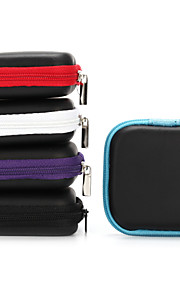 1Pc Mini Zipper Hard Headphone Case PU Leather Earphone Bag for Earphone Earbuds 6.5*6.5*2cm Black Purple Blue Red Gray