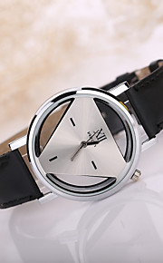 Men's Triangle Case Leather Band Wrist Watch
