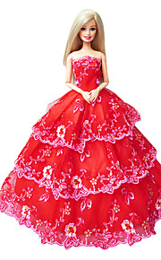 Barbie Doll Holiday Party Princess Dress in Red with Floral Embroidery