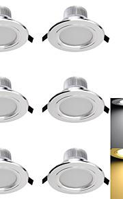 3W Innfelt lampe 6 SMD 5730 300 lm Varm hvit / Kjølig hvit Dekorativ AC 85-265 / AC 220-240 / AC 110-130 V 6 stk.