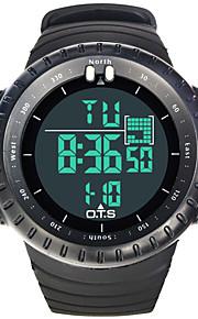 Masculino Assista Digital Relógio Esportivo LCD / alarme / Cronômetro / Luminoso Borracha Banda Relógio de Pulso Preta