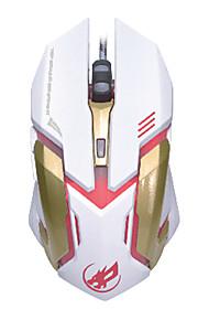 krig ulv 6d kablede gaming mus 2400 7 farver bagbelyst LED lys til lol / cf / DotA sort / hvid