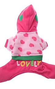 猫用品 / 犬用品 コート / パーカー / ジャンプスーツ ブルー / ピンク 冬 ハート ファッション-Pething®