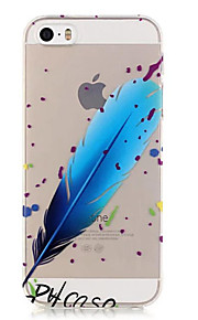 TPU Blue Feather Pattern Transparent Soft Back Case for iPhone SE 5s 5
