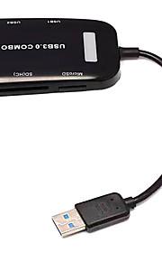 USB 3.0 de 3 puertos / tarjeta de interfaz USB hub lector combinado 8 * 5 * 1.5