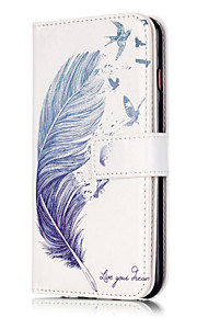 PU Leather Embossed Blue Feather Wallet Case with 9 Card Slots for iPhone 6s 6 Plus
