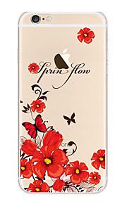 Kakashi litt frisk serie tpu maleri myk sak for iPhone 6s / 6/6-ere pluss / 6 pluss (red butterfly og blomster)