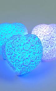 ledede hjerte form steg blomst nat lys regnbue 7 farveskift lampe udskåret relief humør vågelampe indendørs belysning valentinsdag elsker