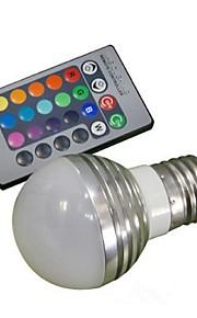3W E26/E27 LED-globepærer A50 1 Høyeffekts-LED 100-180 lm RGB Fjernstyrt AC 85-265 V 1 stk.