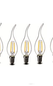 2W E14 LED-lysestakepærer CA35 2 COB 200 lm Varm hvit Dekorativ AC 220-240 V 5 stk.