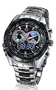 Masculino Relógio de Pulso Quartzo Japonês LED / Calendário / Impermeável / Dois Fusos Horários / alarme Aço Inoxidável Banda Prata marca-